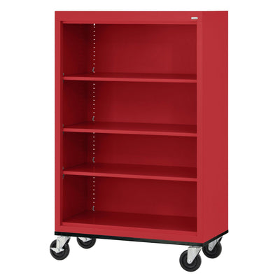 Elite Series Welded Steel  Mobile Bookcase, 3 Shelves and Bottom Shelf, 36 x 18 x 52, Red