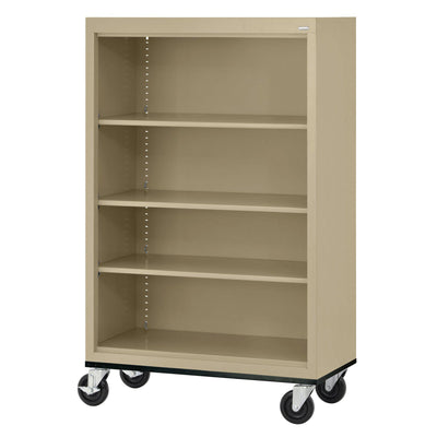 Elite Series Welded Steel  Mobile Bookcase, 3 Shelves and Bottom Shelf, 36 x 18 x 52, Tropic Sand
