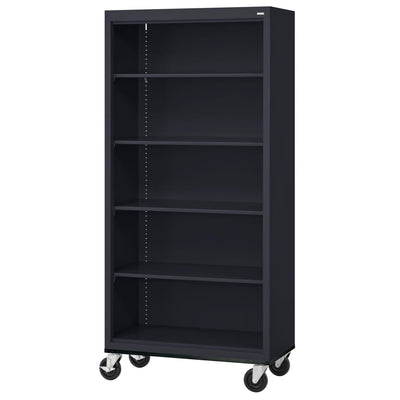 Elite Series Welded Steel Mobile Bookcase, 4 Shelves and Bottom Shelf, 36 x 18 x 72, Black