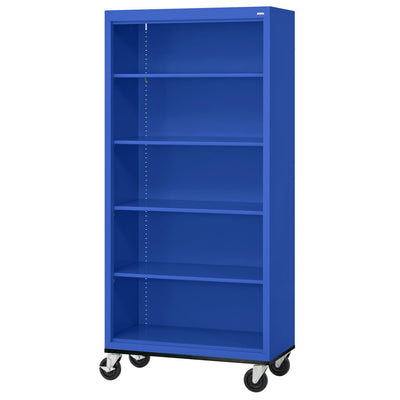 Elite Series Welded Steel Mobile Bookcase, 4 Shelves and Bottom Shelf, 36 x 18 x 72, Blue