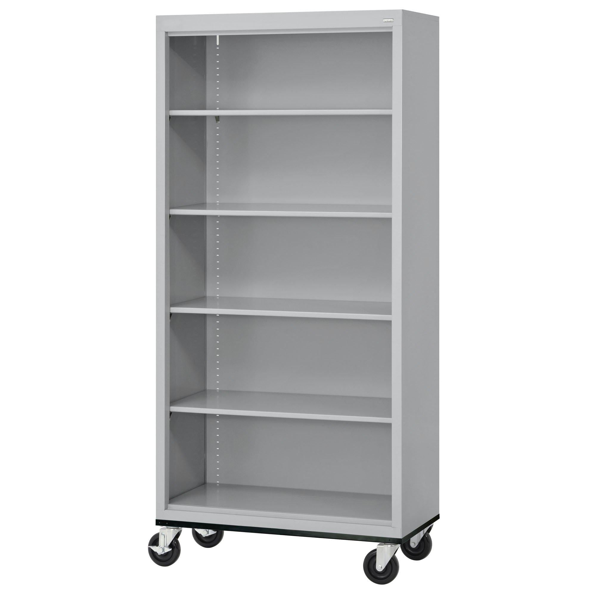 Elite Series Welded Steel Mobile Bookcase, 4 Shelves and Bottom Shelf, 36 x 18 x 72, Dove Gray