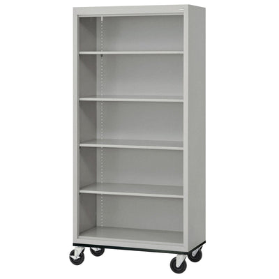 Elite Series Welded Steel Mobile Bookcase, 4 Shelves and Bottom Shelf, 36 x 18 x 72, Multi Granite