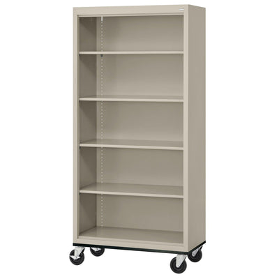 Elite Series Welded Steel Mobile Bookcase, 4 Shelves and Bottom Shelf, 36 x 18 x 72, Putty