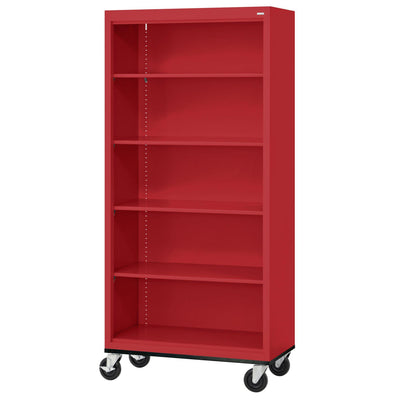 Elite Series Welded Steel Mobile Bookcase, 4 Shelves and Bottom Shelf, 36 x 18 x 72, Red