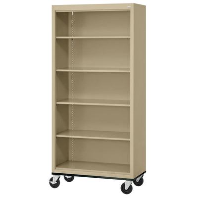 Elite Series Welded Steel Mobile Bookcase, 4 Shelves and Bottom Shelf, 36 x 18 x 72, Tropic Sand