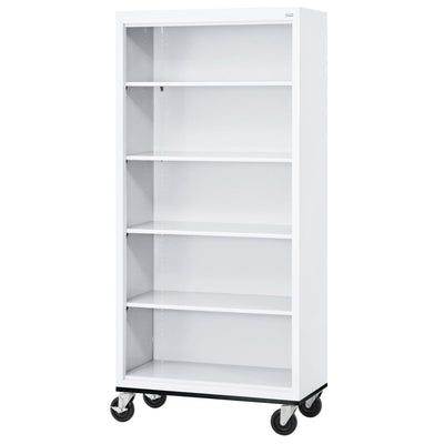 Elite Series Welded Steel Mobile Bookcase, 4 Shelves and Bottom Shelf, 36 x 18 x 72, White