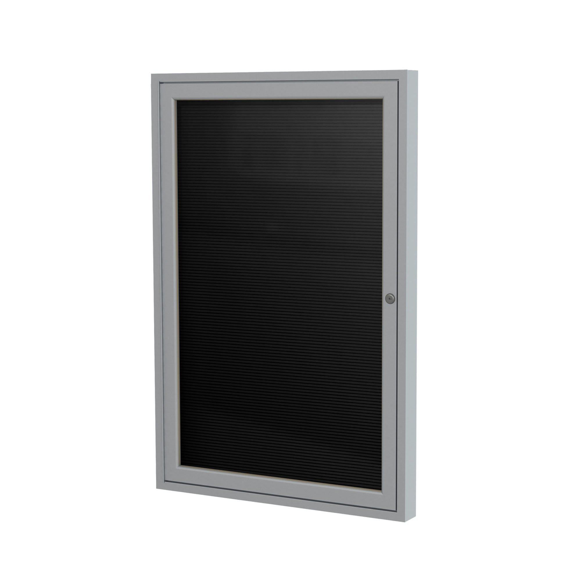 "Enclosed Black Flannel Letter Board with Satin Aluminum Frame-Boards-24""H x 18""W-1-"