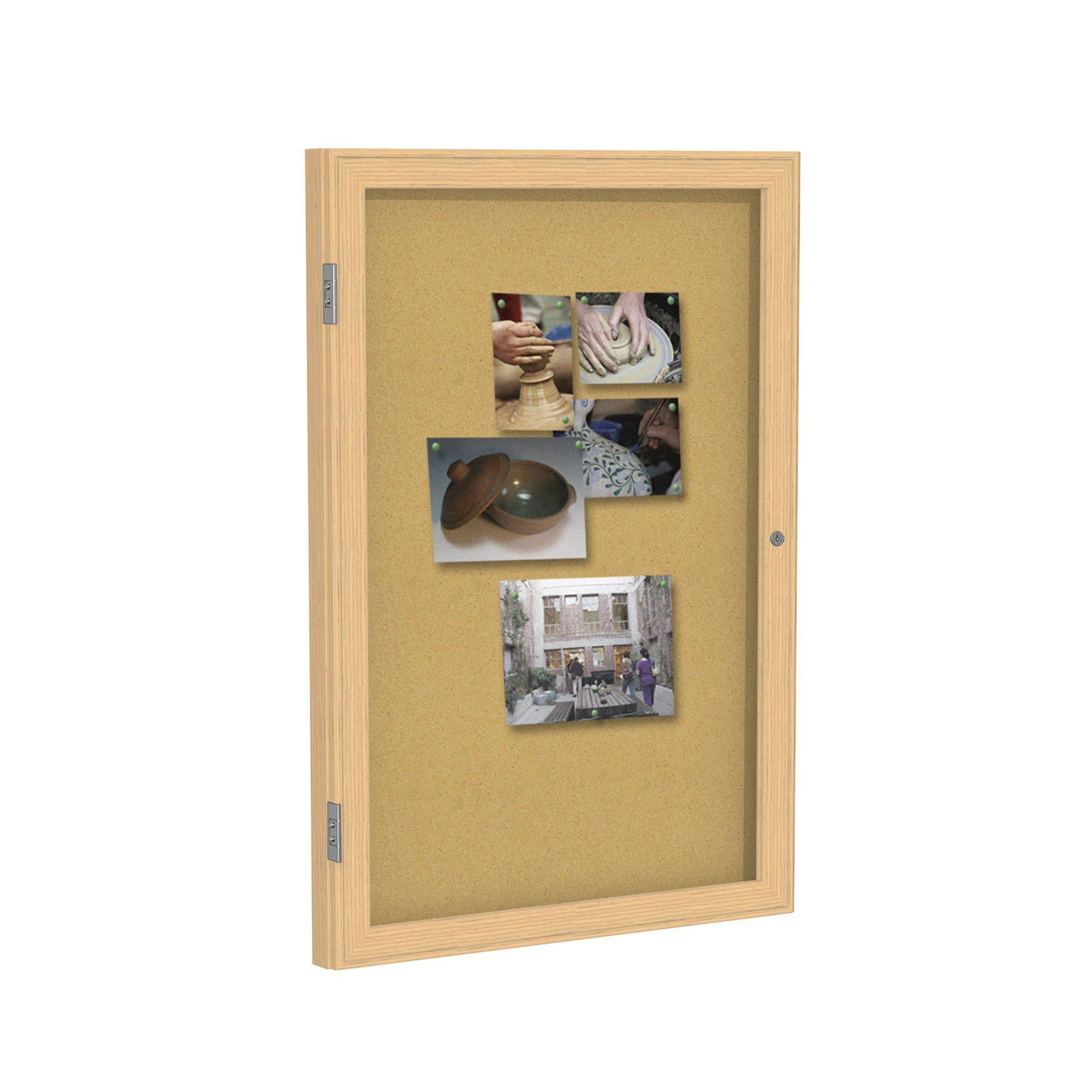 Enclosed Natural Cork Bulletin Board with Oak Wood Frame