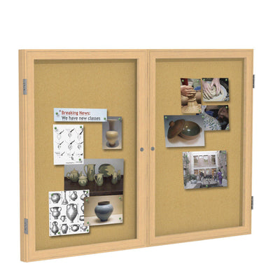 Enclosed Natural Cork Bulletin Board with Oak Wood Frame-Boards-3'H x 4'W-2-