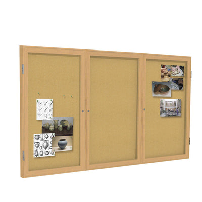 Enclosed Natural Cork Bulletin Board with Oak Wood Frame-Boards-3'H x 6'W-3-