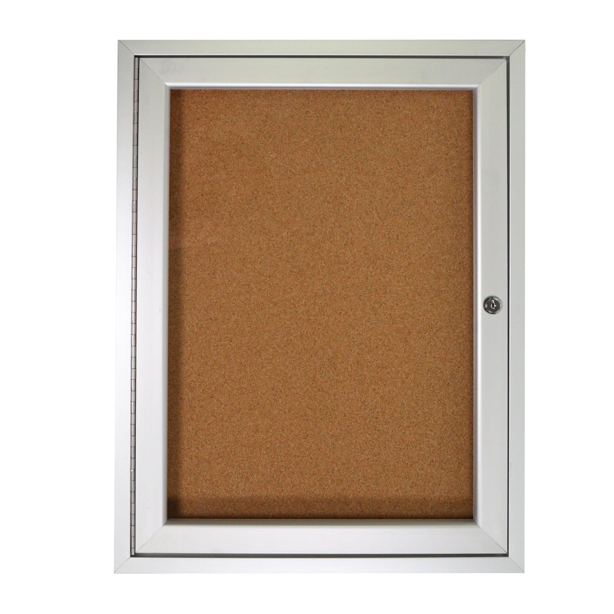 "Enclosed Natural Cork Bulletin Board with Satin Aluminum Frame-Boards-24""H x 18""W-1-"