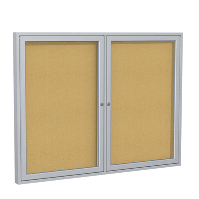Enclosed Natural Cork Bulletin Board with Satin Aluminum Frame-Boards-3'H x 4'W-2-