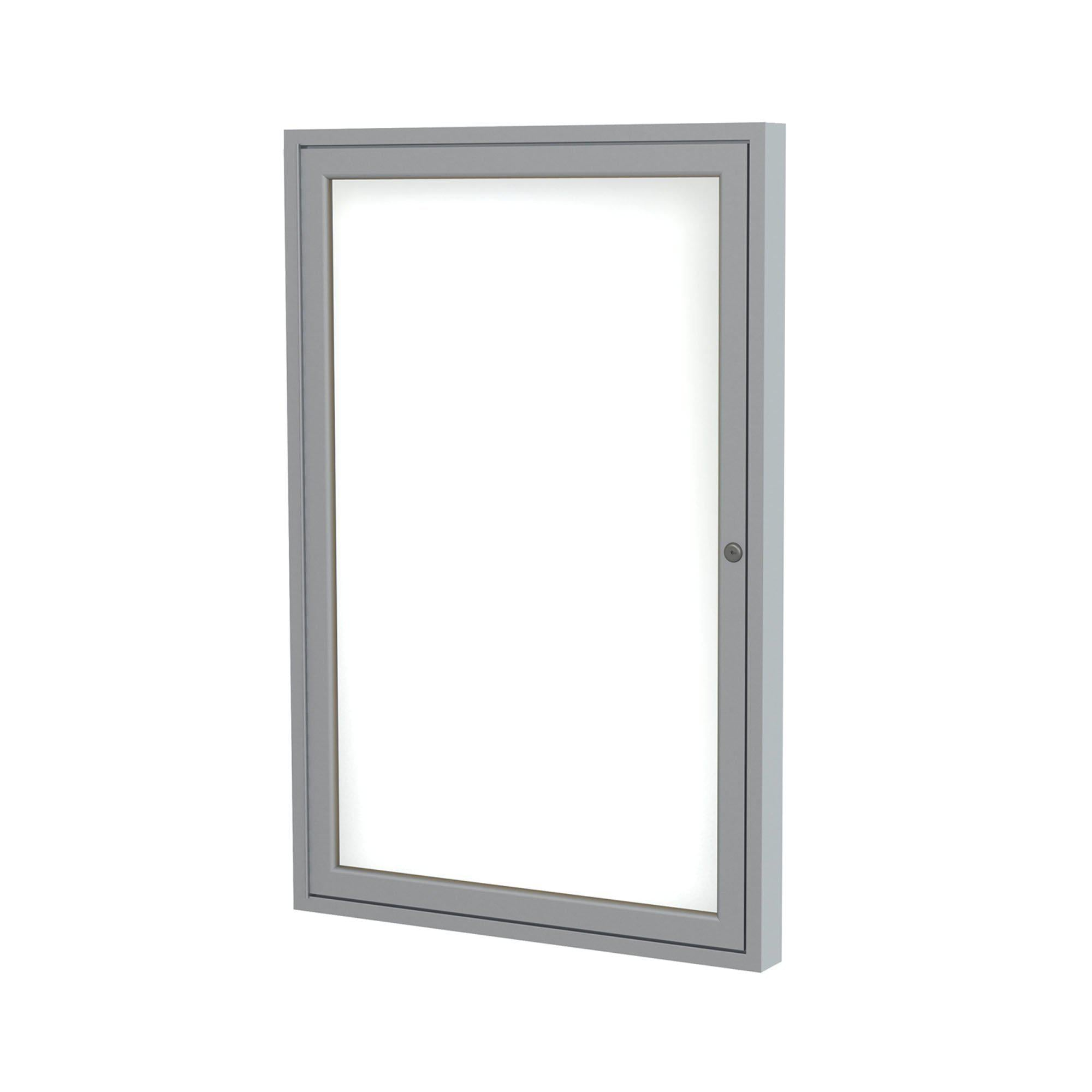 Enclosed Porcelain Magnetic Whiteboard with Satin Aluminum Frame