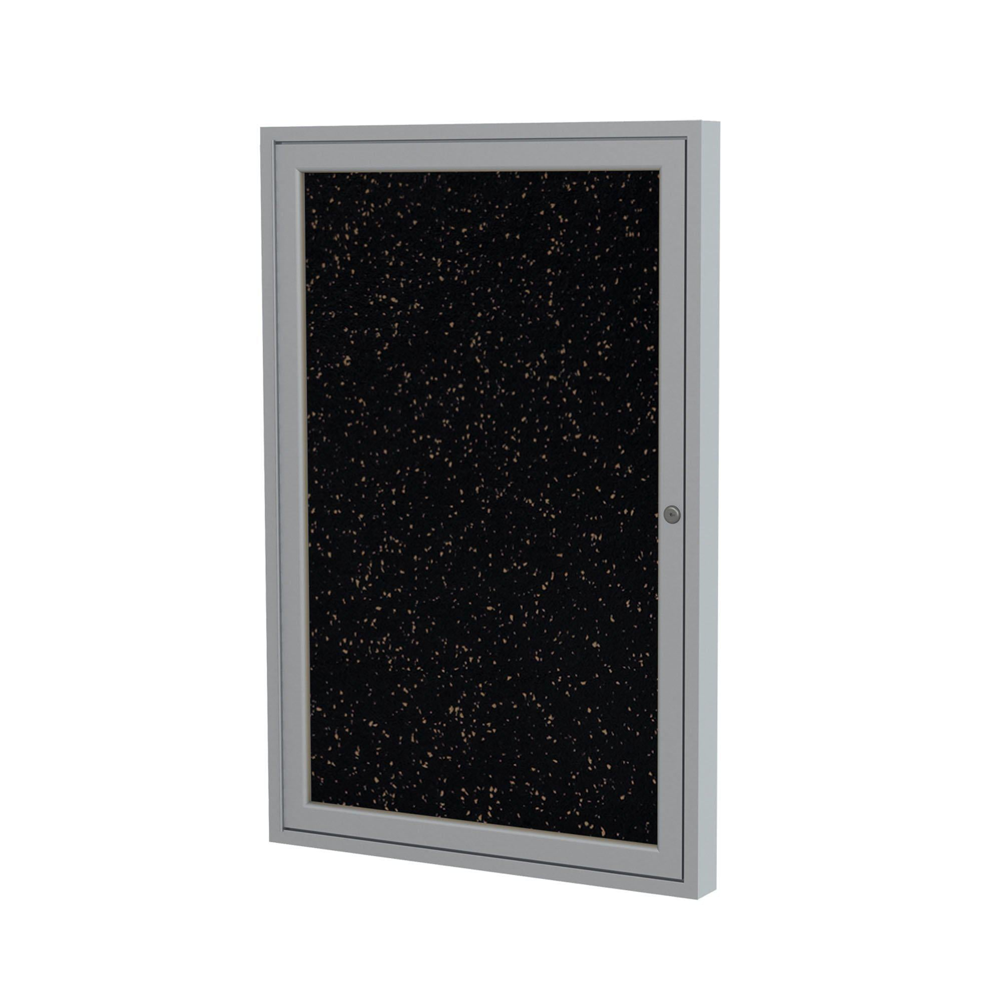 Enclosed Recycled Rubber Bulletin Board with Satin Aluminum Frame-Boards-