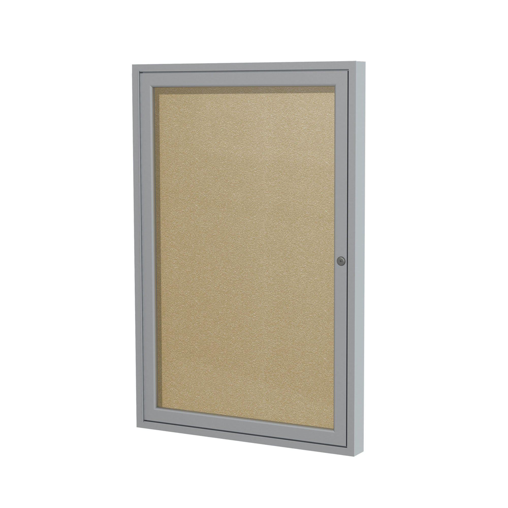 "Enclosed Vinyl Bulletin Board with Satin Aluminum Frame-Boards-24""H x 18""W-1-Caramel"
