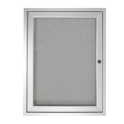 "Enclosed Vinyl Bulletin Board with Satin Aluminum Frame-Boards-24""H x 18""W-1-Silver"
