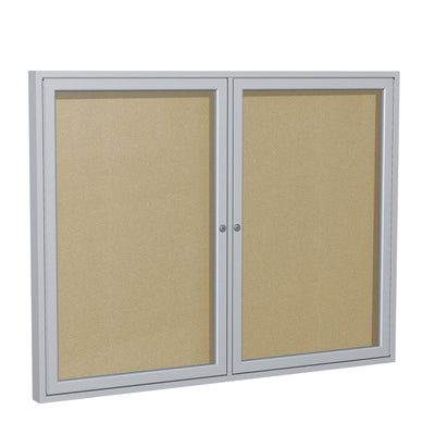 Enclosed Vinyl Bulletin Board with Satin Aluminum Frame-Boards-3'H x 4'W-2-Caramel