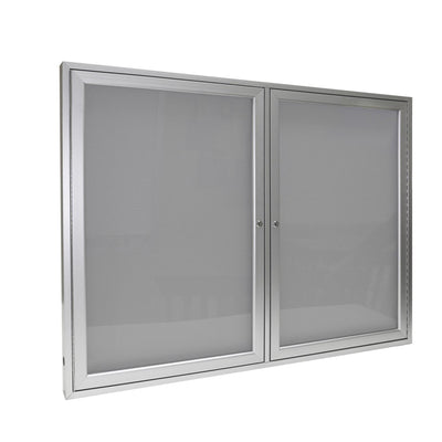 Enclosed Vinyl Bulletin Board with Satin Aluminum Frame-Boards-3'H x 4'W-2-Silver
