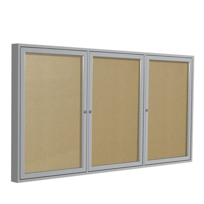 Enclosed Vinyl Bulletin Board with Satin Aluminum Frame-Boards-3'H x 6'W-3-Caramel