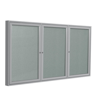Enclosed Vinyl Bulletin Board with Satin Aluminum Frame-Boards-3'H x 6'W-3-Silver