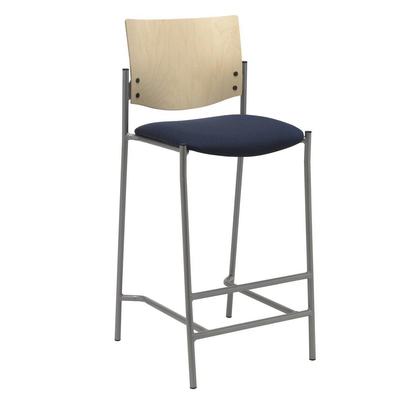 "Evolve Barstool, Wood Back, Padded Seat with Fabric Upholstery, 30""H"