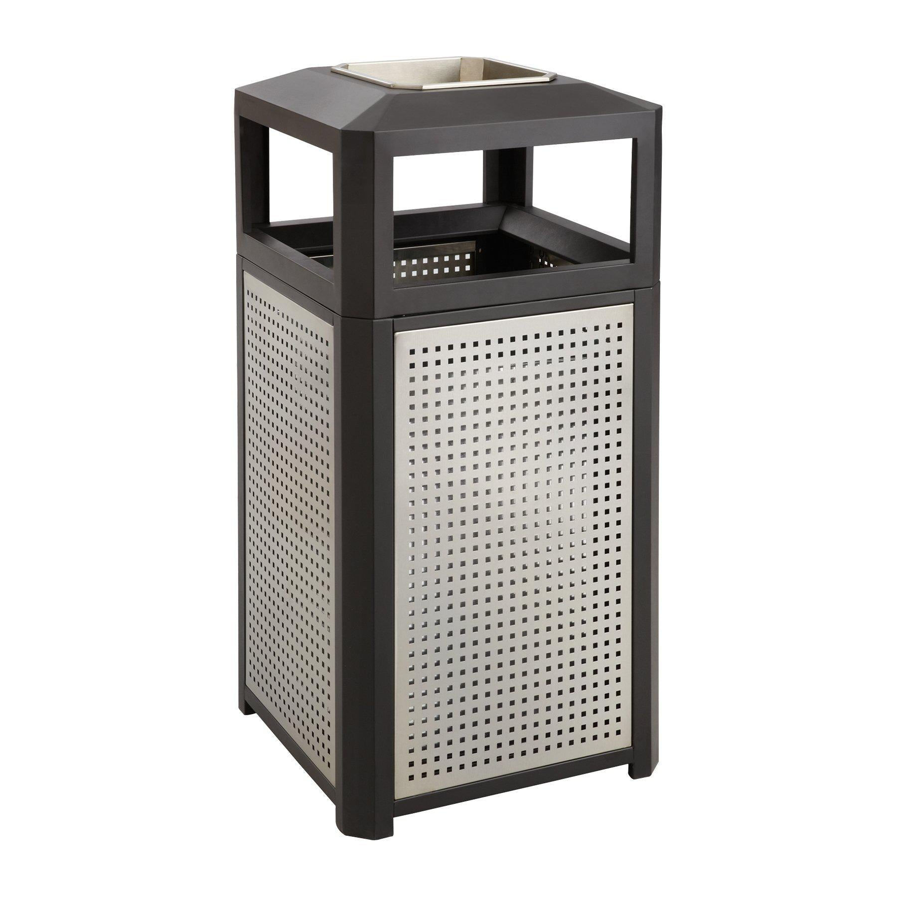 Evos™ Series Steel Outdoor Receptacle, Side Opening with Ash Urn, 15 Gal Capacity