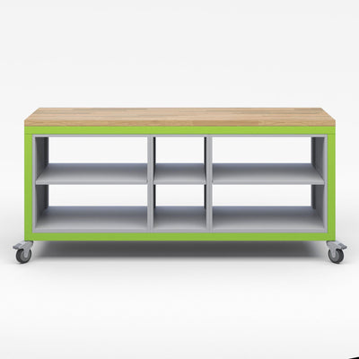 Explorer Series Cargo Cart-Tables-Full Top-1 Single Open and 2 Double Open Storage Modules-Green Apple