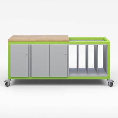 Explorer Series Cargo Cart-Tables-Partial Top-1 Double Door and 1 Single Dopr Strage Modules, 1 Lrge Format Storage Module-Green Apple