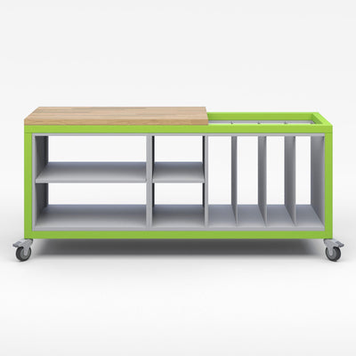 Explorer Series Cargo Cart-Tables-Partial Top-1 Double Open and 1 Single Open Storage Modules, 1 Large Format Storage Module-Green Apple