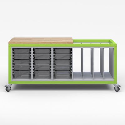 Explorer Series Cargo Cart-Tables-Partial Top-3 Bin Modules, 1 Large Format Storage Module-Green Apple