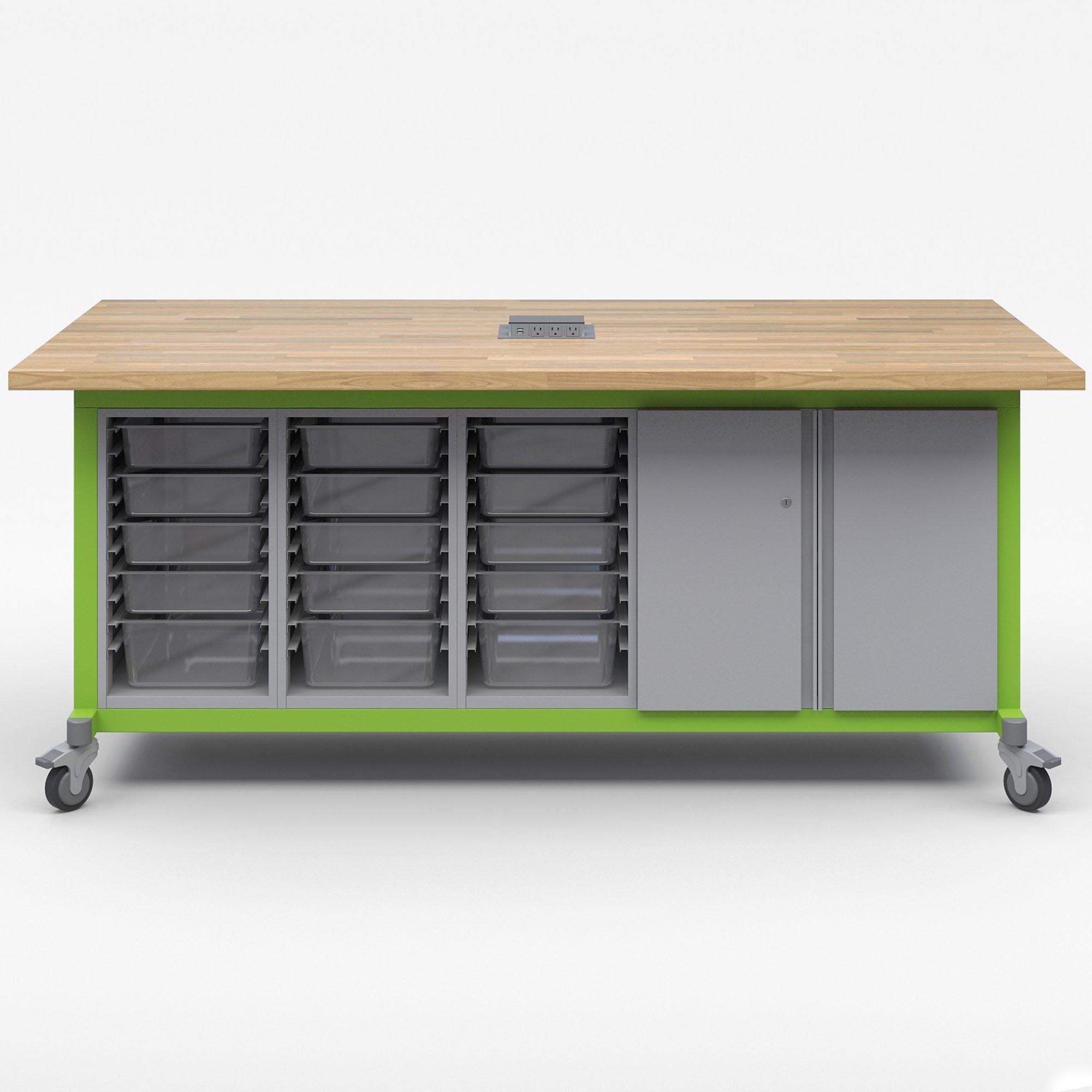 Explorer Series Maker Tables with Power-Tables-3 Bin Modules, 1 Double Door Storage Module-Green Apple-