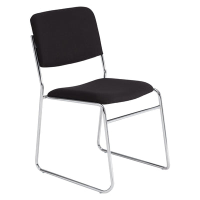 Fabric Padded Signature Stack Chair-Chairs-Ebony Black-