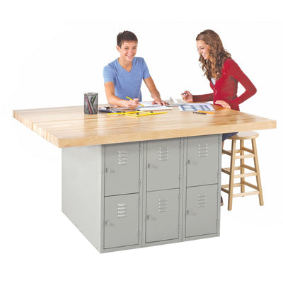 Four-Station Steel Workbench with 12 Locker Openings-0-