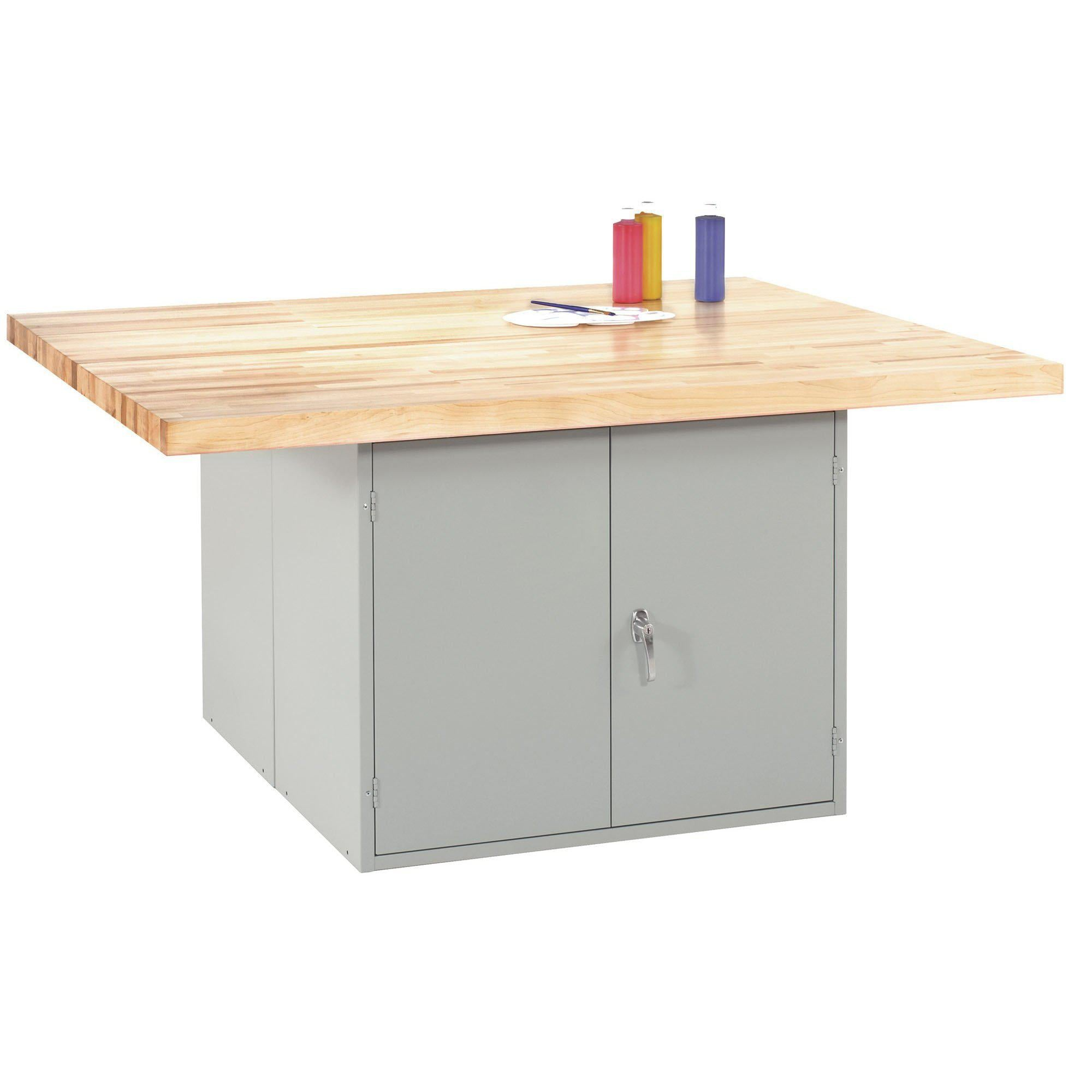 Four-Station Steel Workbench with 2 Door Units
