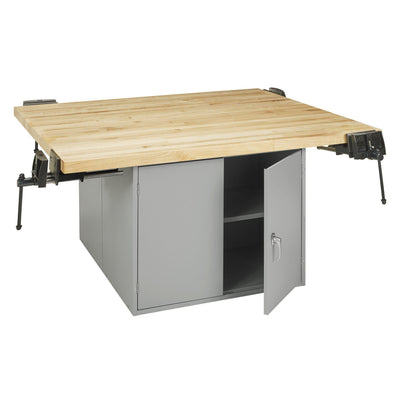Four-Station Steel Workbench with 2 Door Units-4-