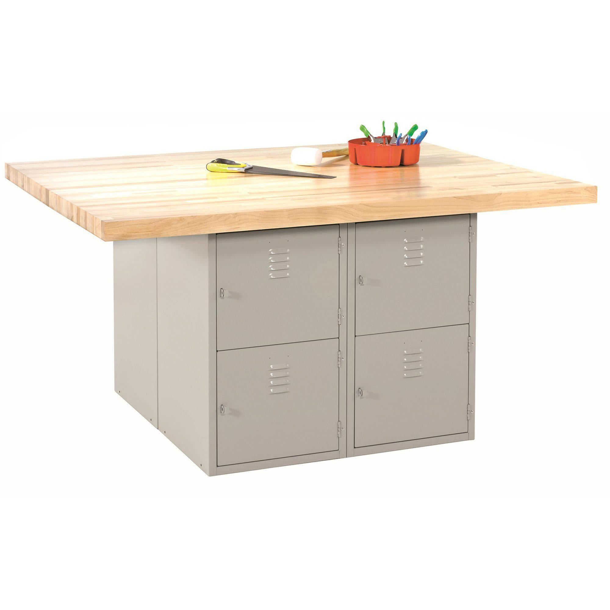 Four-Station Steel Workbench with 8 Locker Openings