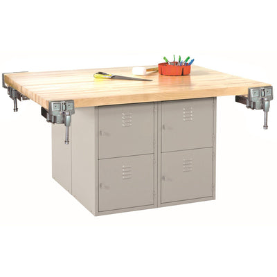 Four-Station Steel Workbench with 8 Locker Openings-4-