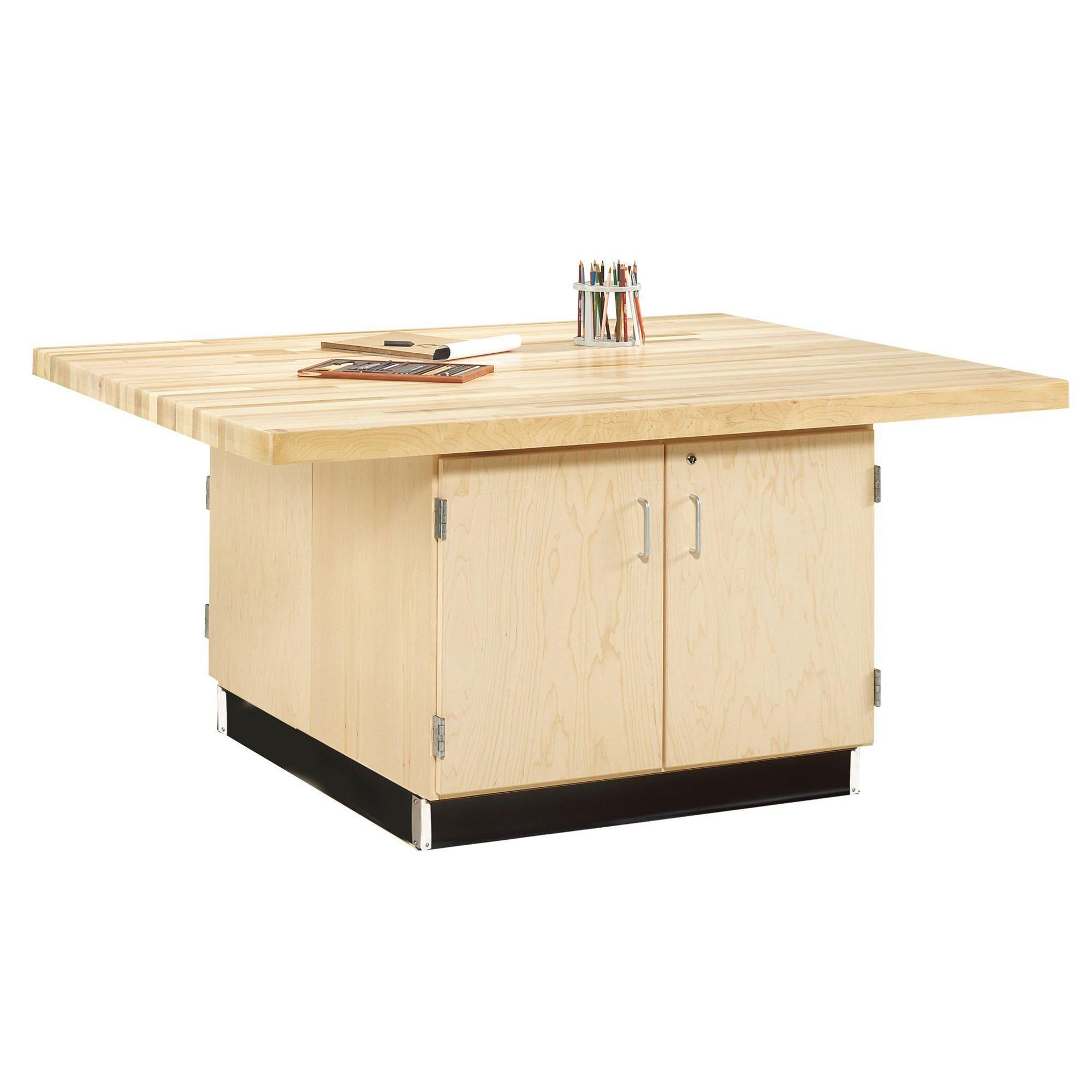 Four-Station Wood Workbench with Cabinets-0-