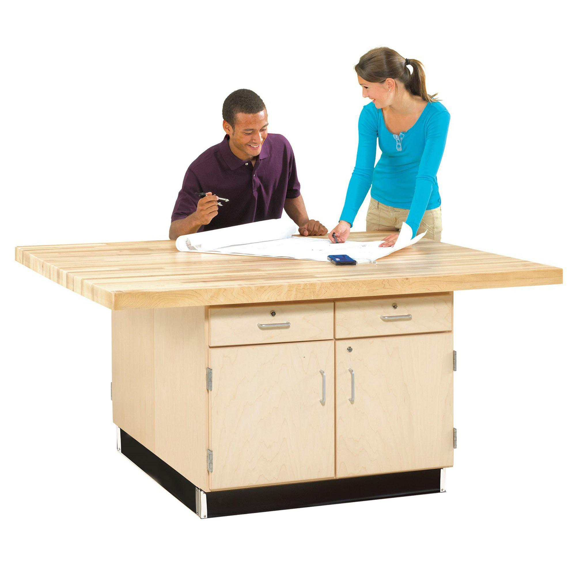 Four-Station Wood Workbench with Four Doors and Drawers-0-