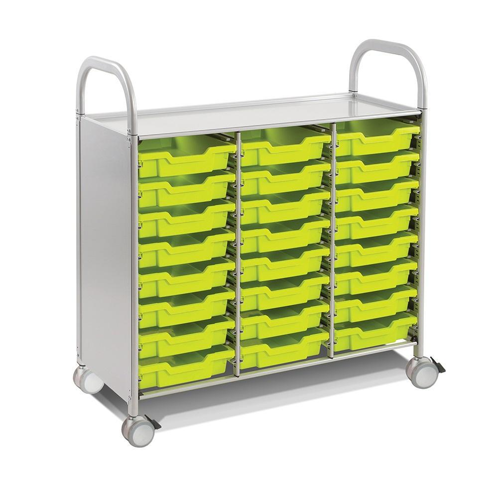 Callero Plus Treble Cart in Silver With 24 Shallow Trays