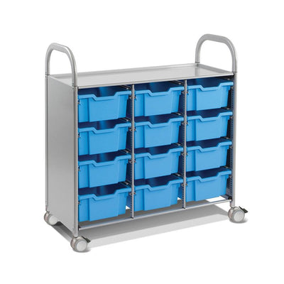 Callero Plus Treble Cart In Silver With 12 Deep Trays