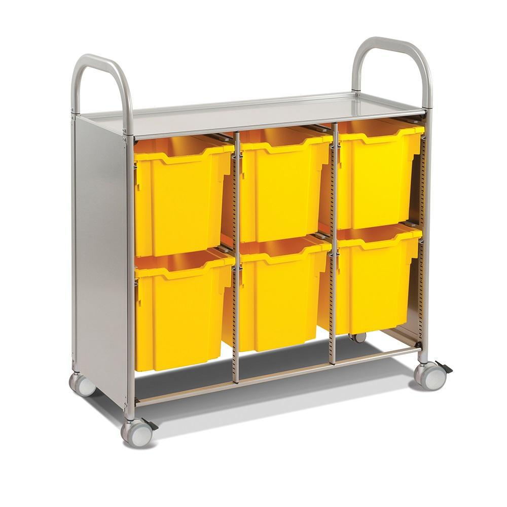 Callero Plus Treble Cart In Silver With 6 Jumbo Trays