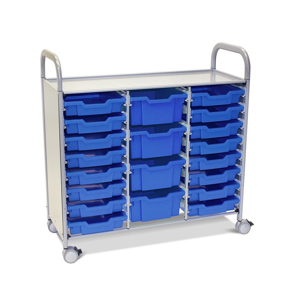 Callero Plus Treble Cart in Silver With 16 Shallow Trays and 4 Deep Trays