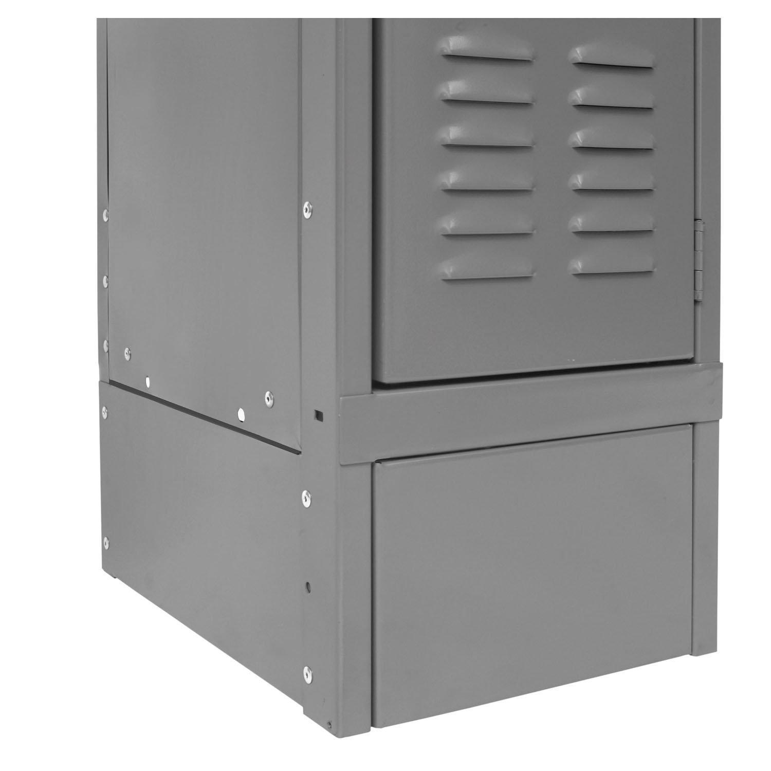 "Hallowell Closed Side Base-Lockers-12"" D x 6"" H-Hallowell Gray-"