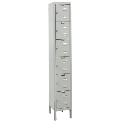 "Hallowell Premium 6-Tier Box Lockers, Assembled-Lockers-12""-Deep, 1-Wide-12"" x 12"" x 12""-Light Gray"