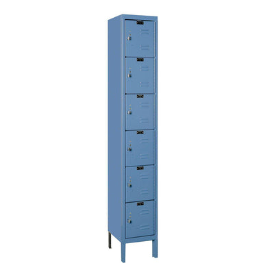 "Hallowell Premium 6-Tier Box Lockers, Assembled-Lockers-12""-Deep, 1-Wide-12"" x 12"" x 12""-Marine Blue"