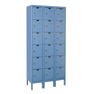 "Hallowell Premium 6-Tier Box Lockers, Assembled-Lockers-12""-Deep, 3-Wide-12"" x 12"" x 12""-Marine Blue"
