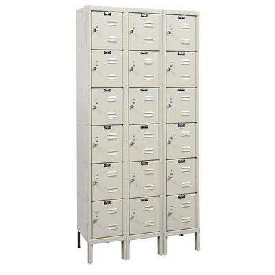 "Hallowell Premium 6-Tier Box Lockers, Assembled-Lockers-12""-Deep, 3-Wide-12"" x 12"" x 12""-Parchment"