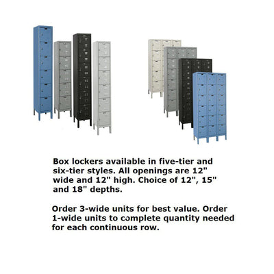 Hallowell Premium 6-Tier Box Lockers, Unassembled-Lockers-