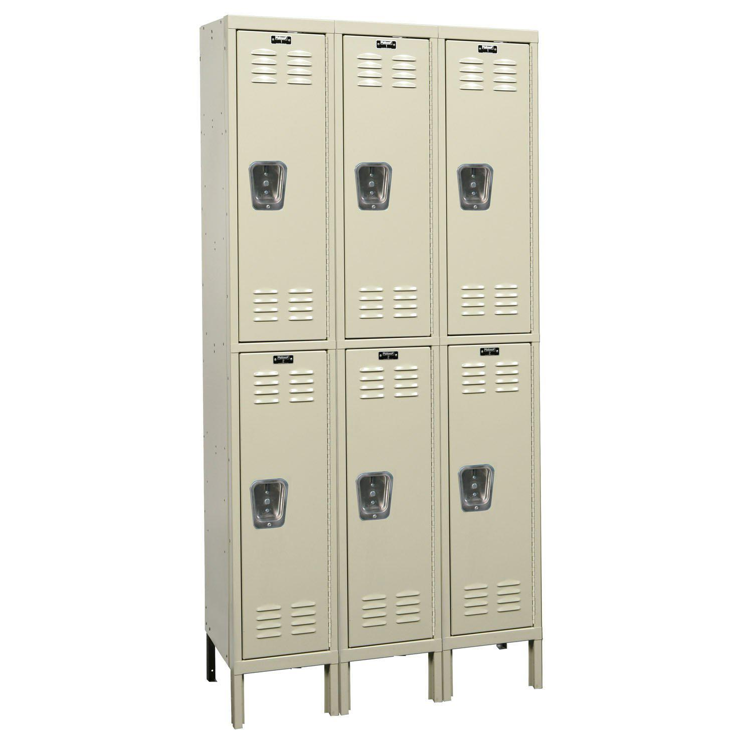 "Hallowell Premium Wardrobe Lockers, Double-Tier, Assembled-Lockers-12""-Deep, 3-Wide-12"" x 12"" x 30""-Parchment"